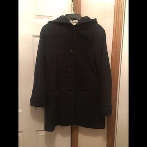 Liz Baker black Pea Coat with hood